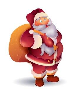 Happy realistic cartoon santa illustration