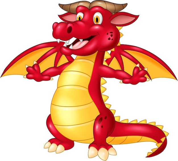 Happy red dragon on isolated background