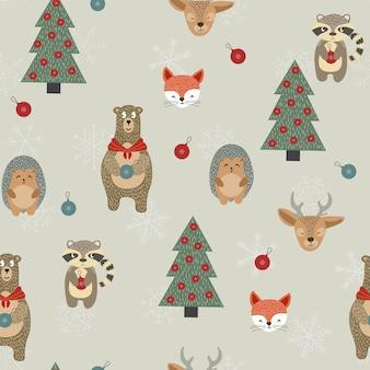 Happy reindeer and raccoon seamless pattern.
