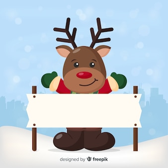 Happy reindeer with blank sign