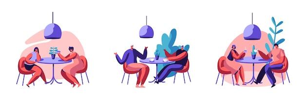 カフェセットのテーブルに座って幸せなリラックスした人々。コーヒーショップで話している飲み物を飲む男性と女性のキャラクター。男性と女性の友人はリラックスしてデートします。漫画フラットベクトルイラスト