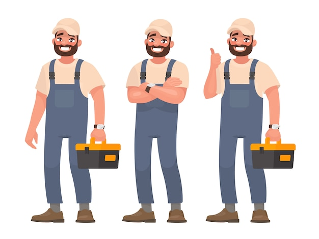 Happy repairman or mechanic with toolbox. set of different poses.