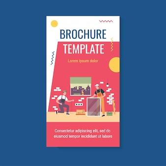 Happy repairmen doing renovation at home brochure template