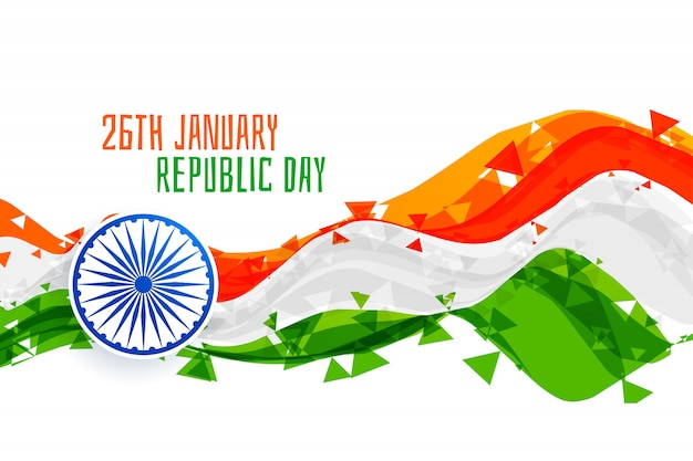 Happy republic day abstract indian flag
