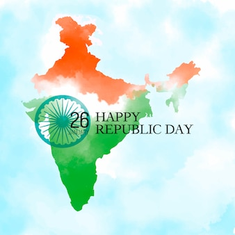 Happy republic day background with indian map