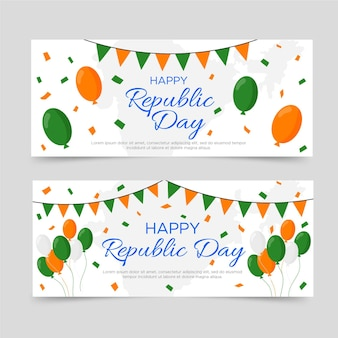 Happy republic day banner flat design