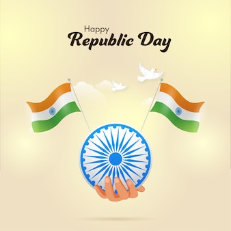 Happy republic day celebration poster design with hand holding ashoka wheel