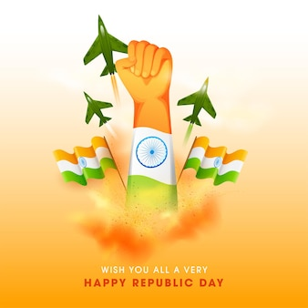Happy republic day concept with hand fist up, indian flags, fighter jets.