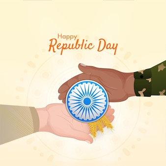 Happy republic day concept with human hands holding ashoka wheel