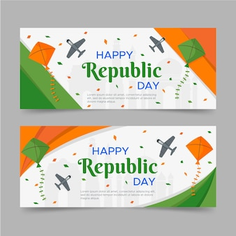 Happy republic day flat banner