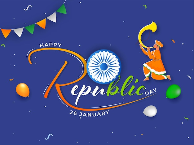Happy republic day font with ashoka wheel and man blowing tutari horn for 26th january