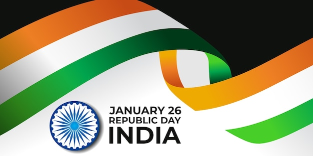 Happy republic day india 26 january banner illustration with waving tricolor flag