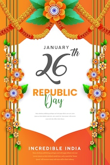 Happy republic day indian festival poster
