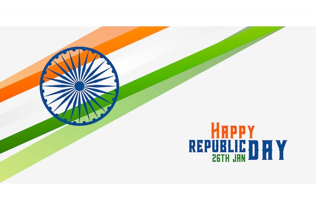 Happy republic day indian flag banner design