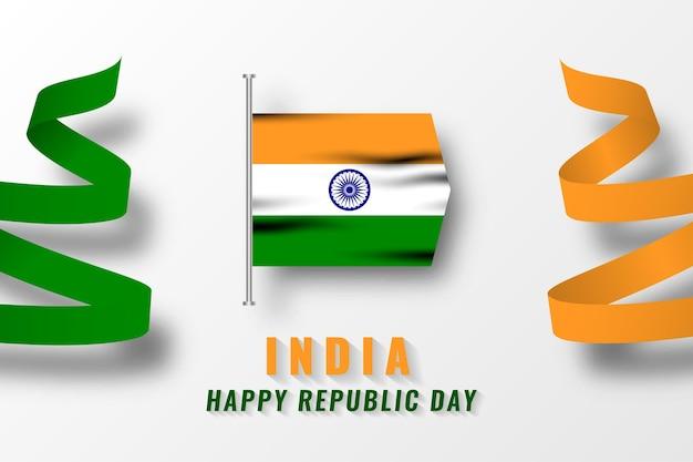 Счастливый день республики индии иллюзия дизайн шаблона