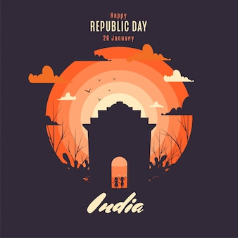 Happy republic day poster design with silhouette kids holding indian flag