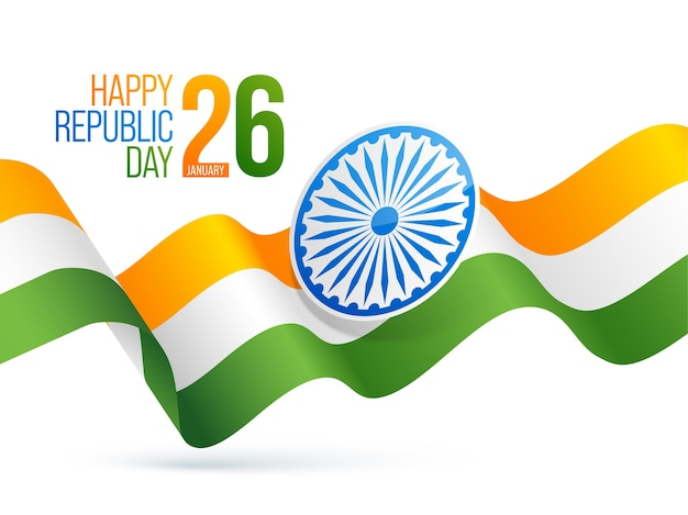 Happy republic day poster  with ashoka wheel and wavy tricolor ribbon on white background.
