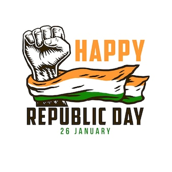 Happy republic day with india national flag on fist