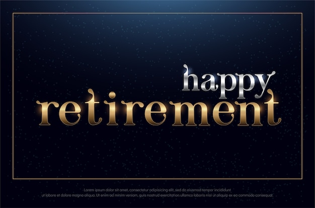 Happy retirement party silver and golden on blue background