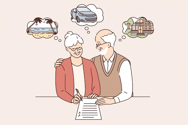Happy retirement and planning vacations concept. old mature couple man and woman standing signing document planning weekend together feeling happy vector illustration