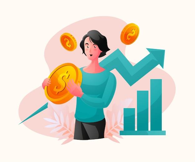 Счастливая богатая деловая женщина празднует рост доходов