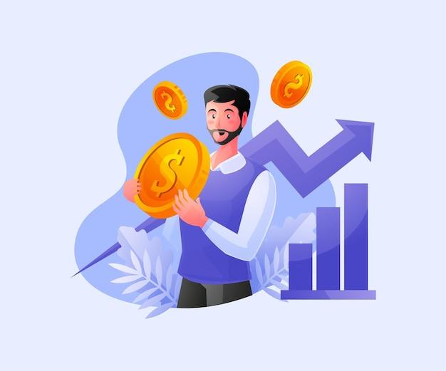 Счастливый богатый бизнесмен празднует рост доходов