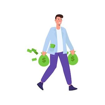 幸せな金持ち、現金のお金の袋を保持しているビジネスマンのキャラクター。漫画のスタイルのベクトルイラスト。
