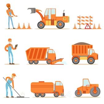 만화 그림의 건설 현장 세트에서 균일하고 무거운 트럭에 행복 도로 건설 및 수리 노동자