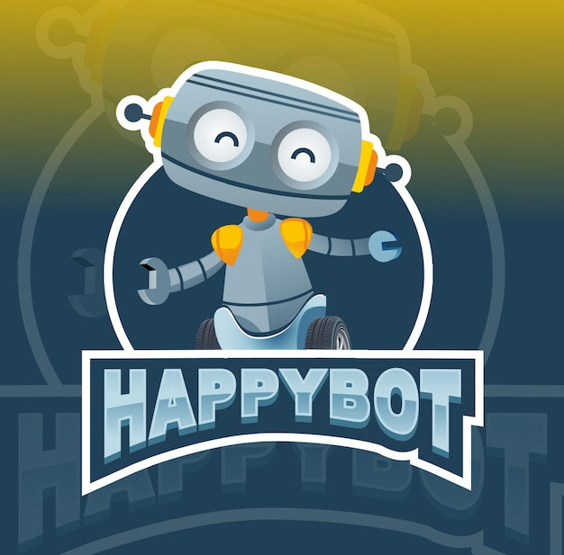 幸せなロボットマスコットロゴデザイン
