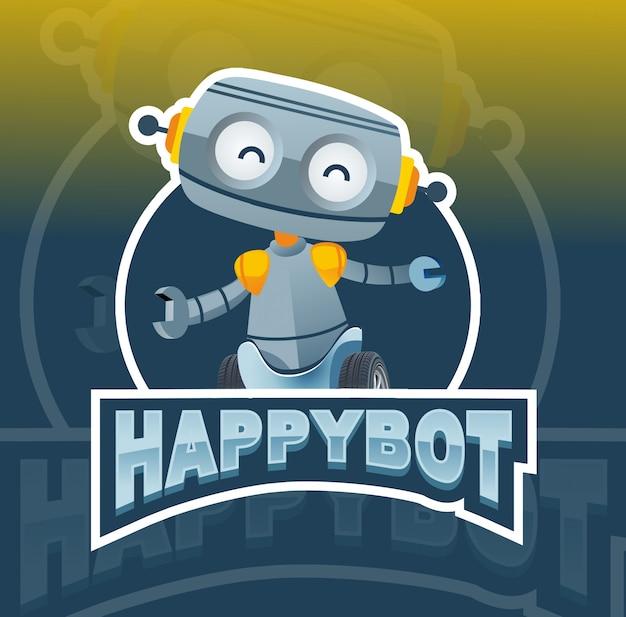 Счастливый робот талисман дизайн логотипа