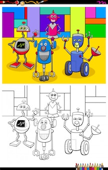Happy robots characters group color book