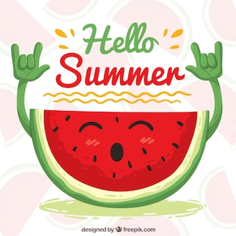 Happy rocker watermelon background
