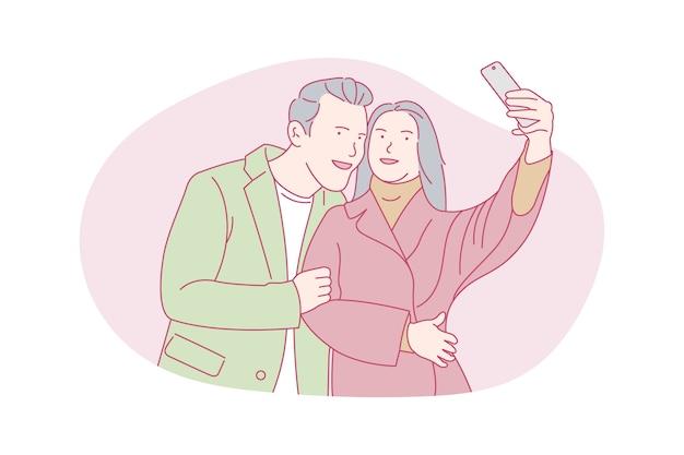 幸せな、ロマンチックなカップル、自分撮り、コンセプトイラストを撮る