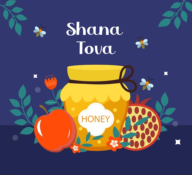 Happy rosh hashanah greeting card. shana tova template for your design with traditional symbols and flowers. jewish holiday. happy new year in israel. vector illustration