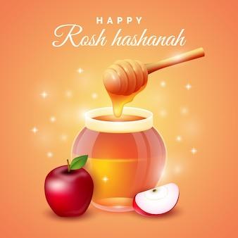 幸せなロッシュハシャナ蜂蜜とリンゴ