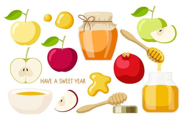 Счастливый рош ха-шана набор яблоко фрукты мед гранат еврейский новый год праздник шана това вектор