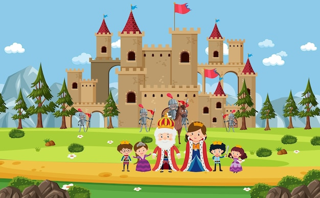 Happy royal family in front of castle