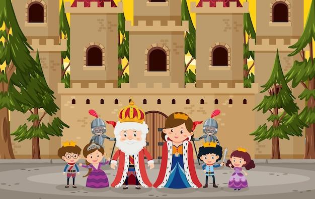 성 앞의 행복한 왕실 가족