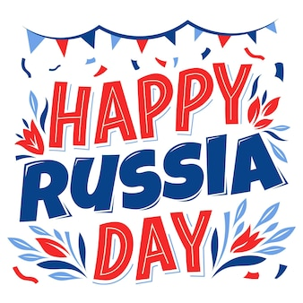 Happy russia day lettering with garlands