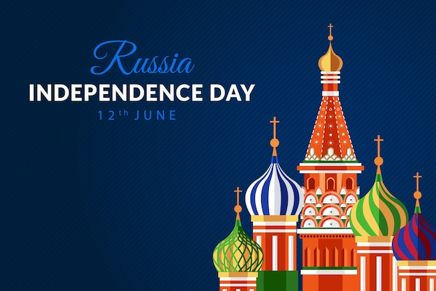 Happy russia independence day holiday background with saint basil cathedral