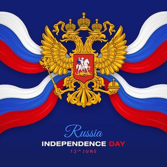 Happy russia independence day with russian federation emblem