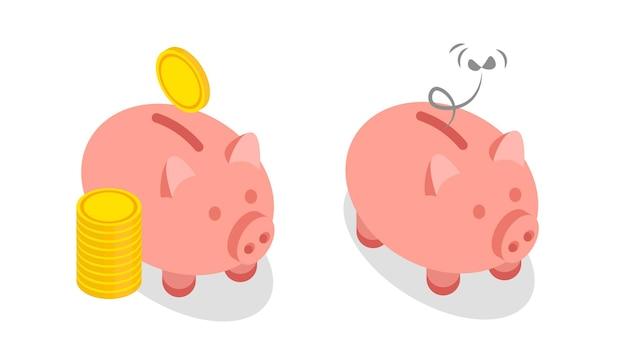 Happy and sad isometric piggy bank isolated