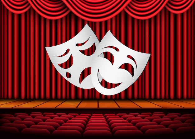 Happy and sad theater masks, theatrical scene with red curtains. illustration.