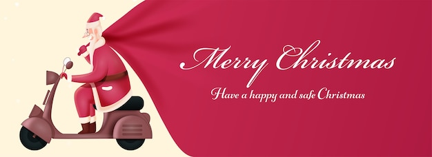 Happy & safe merry christmas banner design with illustration of santa claus riding scooter and pink heavy sack