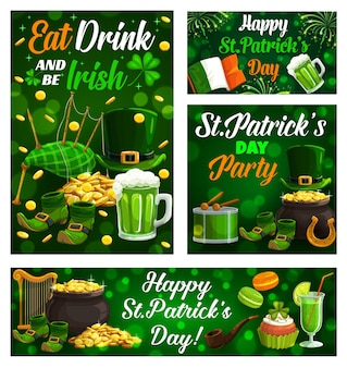 Happy saint patrick day, celtic holiday celebration shamrock clover leaf posters