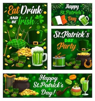 Happy saint patrick day, celtic holiday celebration shamrock clover leaf posters