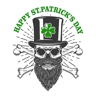 Happy saint patrick day. irish leprechaun skull with clover.  element for poster, t-shirt, emblem, sign.  illustration