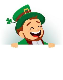 Happy saint patrick's day. cartoon funny leprechaun