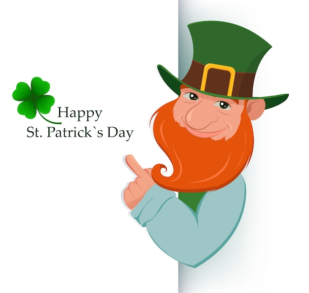 Happy saint patrick's day. cartoon happy leprechaun