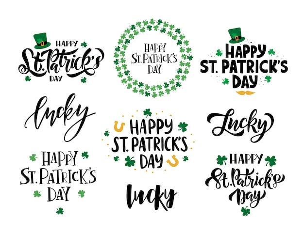 Happy saint patrick's day celebration illustration set